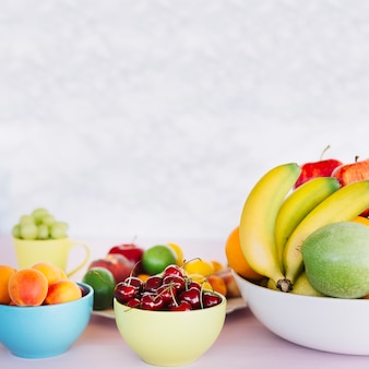 Healthy tropical fruits in bowl