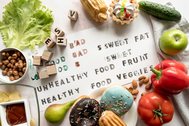 Healthy and unhealthy text on paper surrounded with fresh food