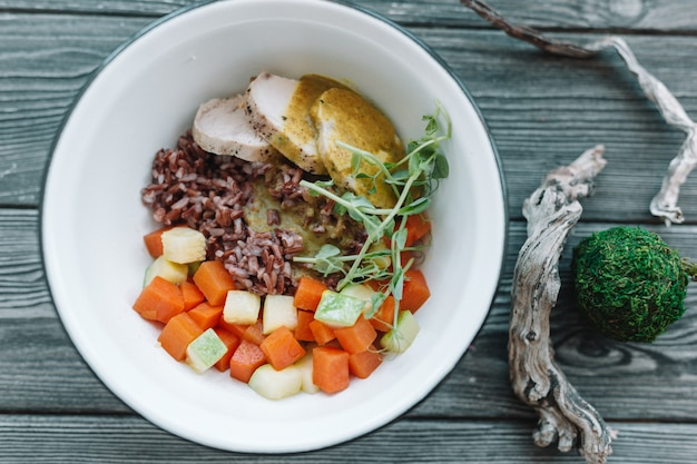 Healthy vegan salad in white plate