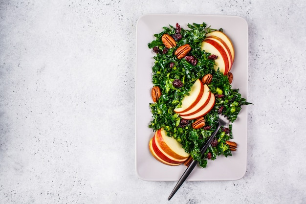 Healthy vegan salad with apple, cranberry, kale and pecan in a rectangular plate, top view.