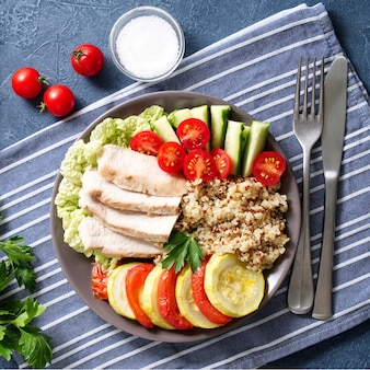 Healthy vegetable buddha bowl lunch with turkey, vegetables and