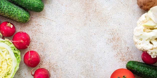 건강한 야채 식품 신선한 야채 수확 새로운 과일 유기농 건강 식품 채식주의 자 또는 채식주의 자