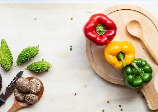 Healthy vegetables on table.