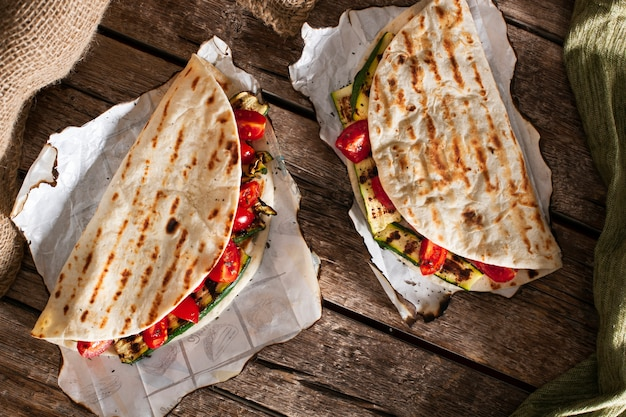 Healthy vegetables tortillas on wooden table