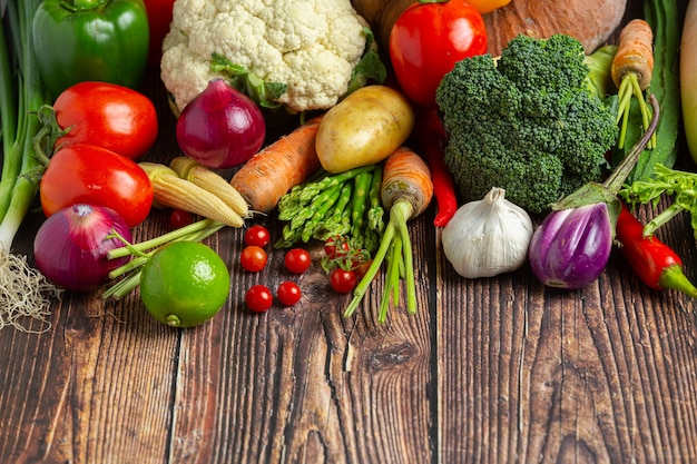 Healthy vegetables on wooden table