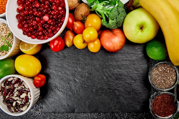 Healthy vegetarian fall food on the table