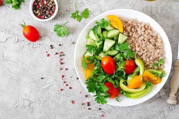 Healthy vegetarian salad of fresh vegetables