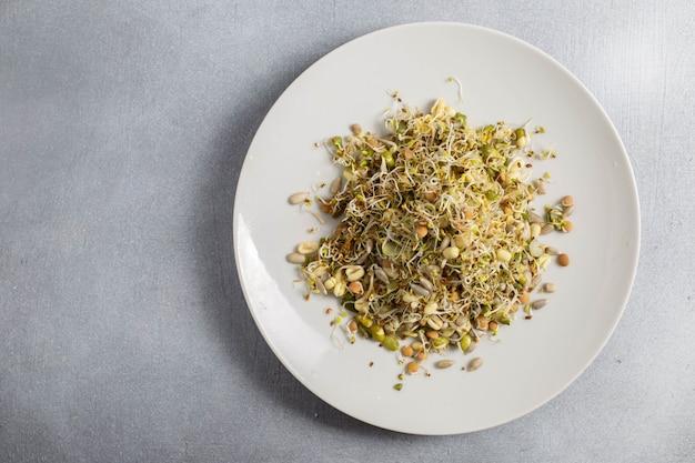 접시에 믹스 싹이 트는 씨앗과 건강 한 채식 샐러드. 건강 식품 개념.