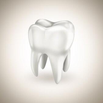 Здоровый белый зуб на светлом фоне