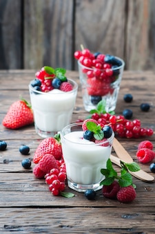 Healthy yoghurt with mix of berries