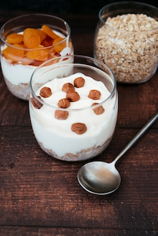 Healthy yogurt and oats breakfast