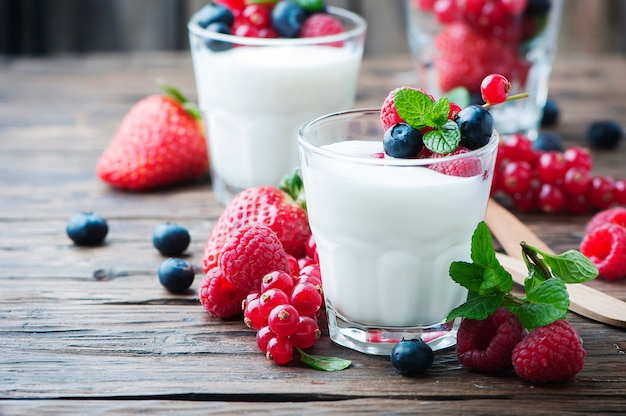 Healthy yougurt with mix of berries