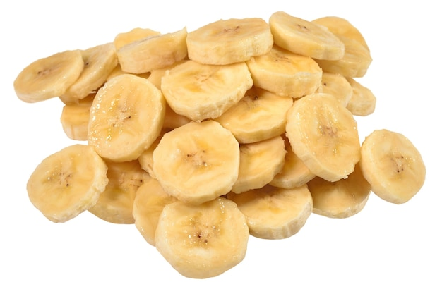 Heap of banana slices on a white background