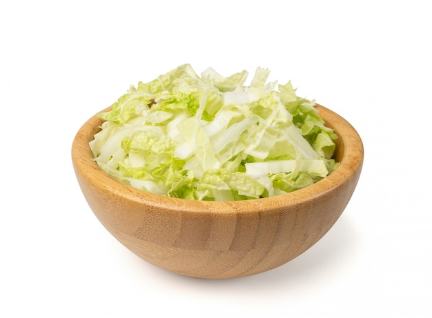 Heap of chopped chinese cabbage in wooden bowl
