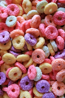 Heap of colorful sugary ring shaped cereal