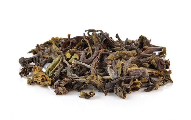 Heap of dry green tea isolated