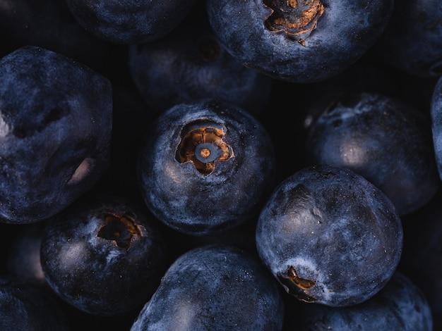 Heap of fresh ripe blueberries
