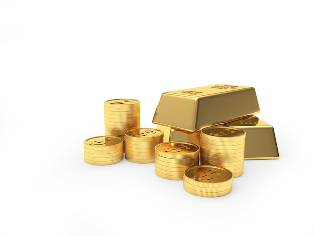 Heap of gold bars and coins stacked in piles isolated