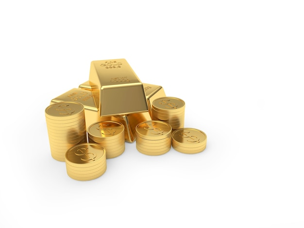 Heap of gold bars and coins stacked in piles