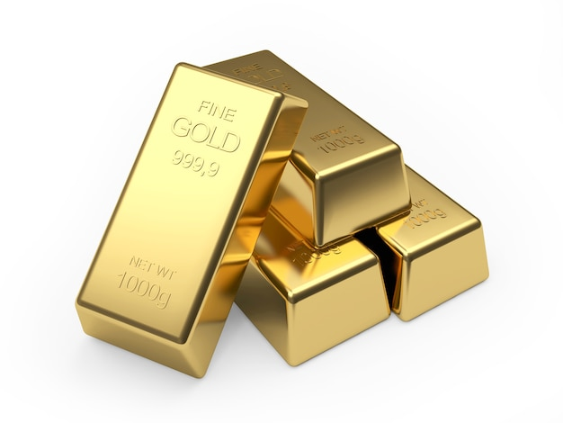 Heap of gold bars on white