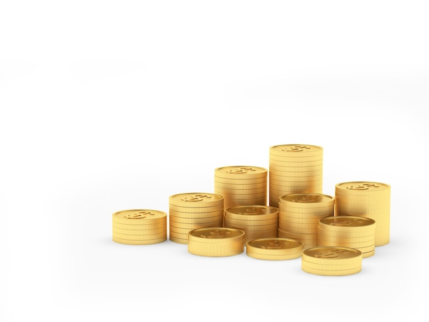 Heap of gold coins in stacks isolated