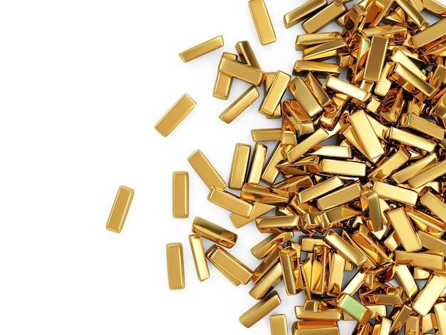 Heap of golden bars on white
