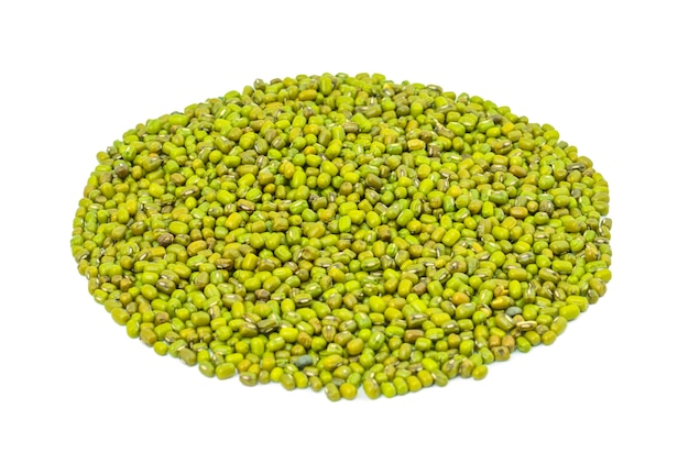 Heap of green mung beans on white background