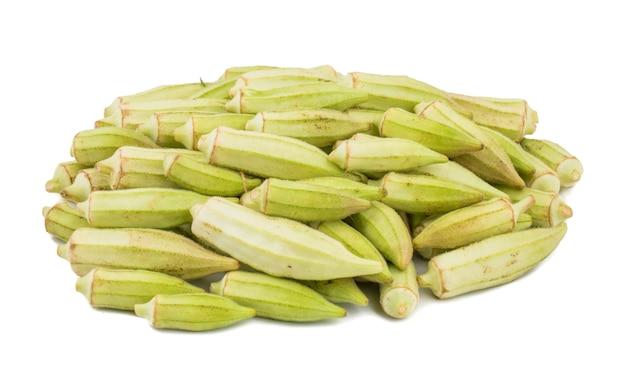 Heap of green okra vegetable or lady finger