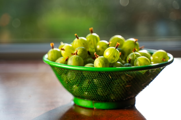Heap of green wet washed gooseberry fruit in a colander on table.