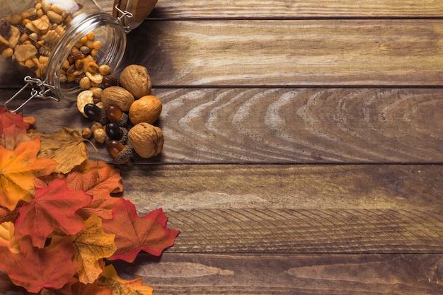 Heap of leaves near nuts