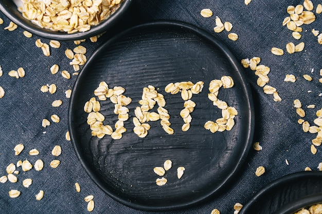Heap of oats forming a word