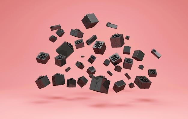 Куча черных подарочных коробок на розовом