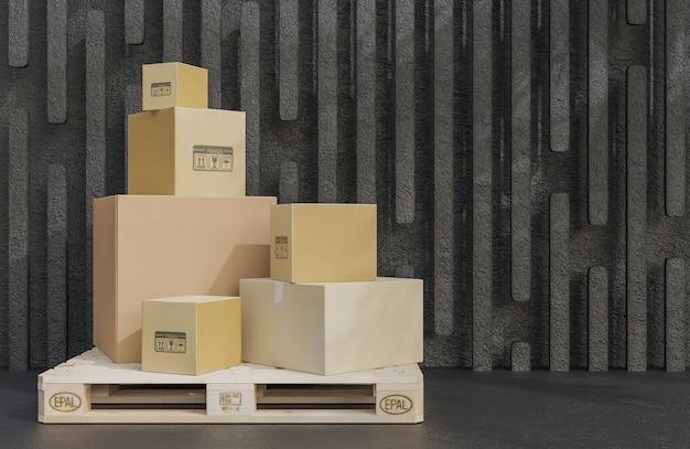 나무 팔레트에 상품을 배달하기 위한 판지 상자 더미, 검은 돌 배경에 있는 소포.,3d 모델 및 그림.