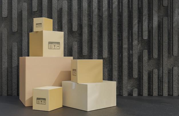 상품 배달을 위한 판지 상자 더미, 검은 돌 배경에 소포.,3d 모델 및 그림.