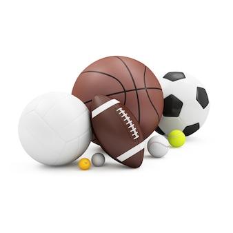 さまざまなスポーツボールのヒープ:バスケットボール、サッカーボール、バレーボール、ラグビーボール、テニスボール、野球、ゴルフボール、白い背景で隔離のピンポンバル。スポーツとレクリエーションのコンセプト