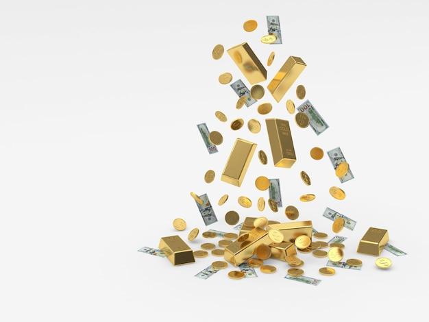 Куча падающих золотых слитков и монет с долларовыми купюрами