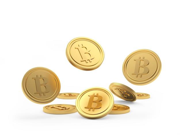 Куча золотых монет биткойн