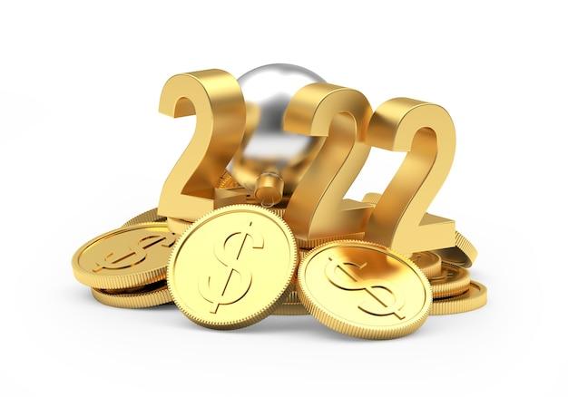 Куча золотых долларовых монет с номером нового года