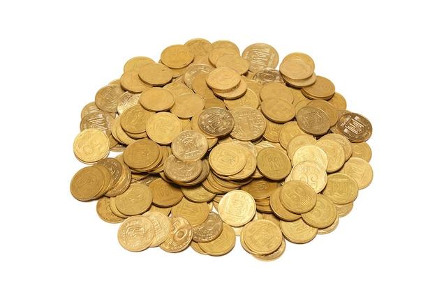 황금 동전 흰색 절연의 힙