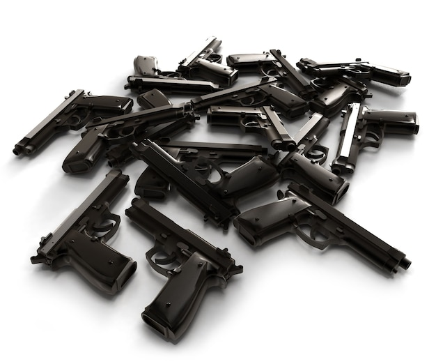 Куча ружей, лежащих на белой поверхности