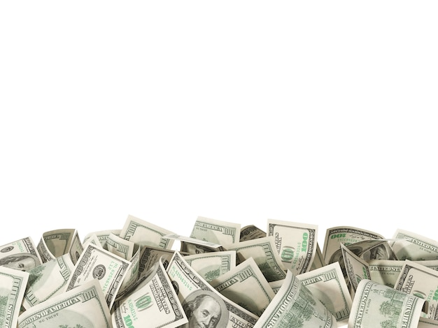 Куча сто долларовых купюр, изолированные на белом фоне
