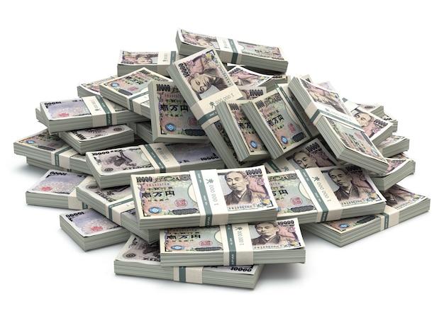 白い3dで分離された日本円パックのお金のヒープ