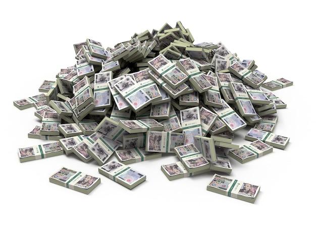 白で隔離された日本円パックのお金の山。 3d