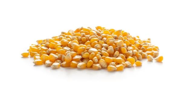Куча сырых зерен попкорна изолированные