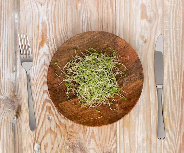 레드 클로버 콩나물, 루체른, 무 콩나물의 힙 나무 소박한 테이블 상단보기에. 원시 다이어트 식품에 대한 발아 야채 씨앗, 마이크로 녹색 건강한 식생활 개념
