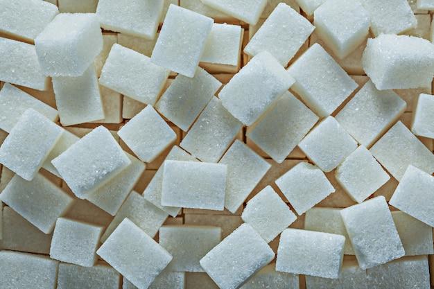 白い砂糖キューブ食品コンセプトのヒープ