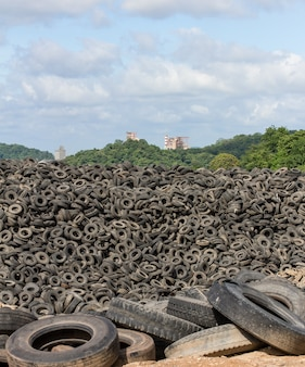 Heap of old tires Premium Photo