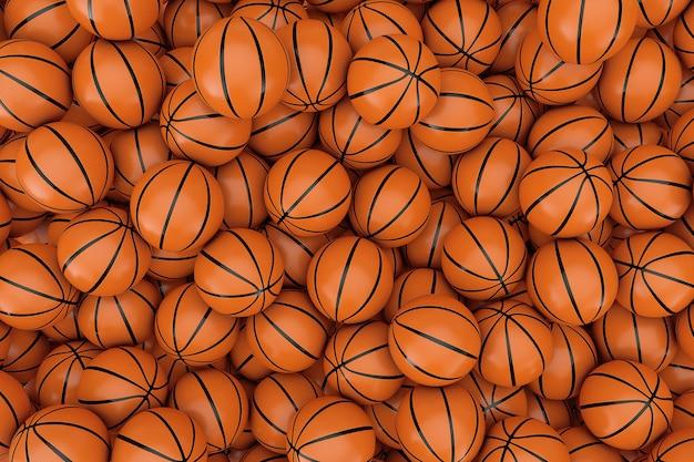 Heap of orange basketball ball background extreme closeup. 3d rendering