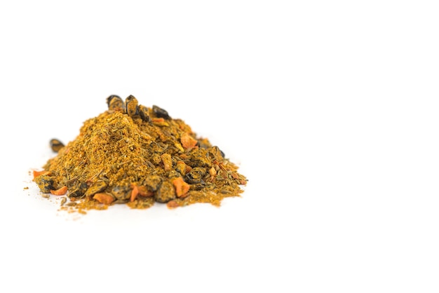 Heap of oriental spices isolated