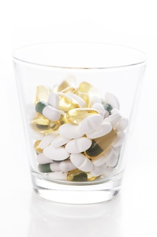 Heap of pills on the table